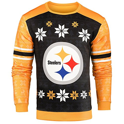 Forever Collectibles NFL Men's Printed Ugly Sweater,Pittsburgh Steelers