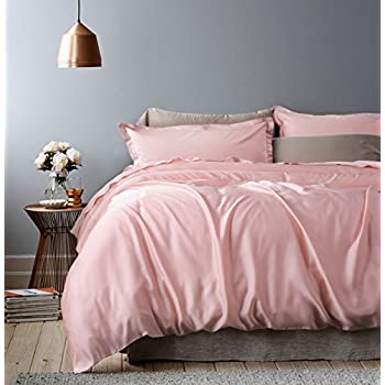 rose gold duvet cover luxury bedding set high thread count egyptian cotton sateen silky soft blush