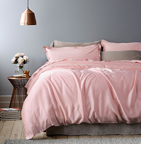 Eikei Rose Gold Duvet Cover Luxury Bedding Set High Thread Count Egyptian Cotton Sateen Silky Soft Blush Pale Pink Solid Colored (King, Blush Pink) (Bedding Coloured Gold)