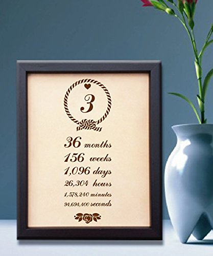 Lik91 Leather Engraved Wedding Third Anniversary gift three years time week month personalized gift