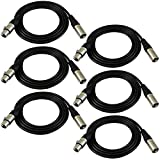 GLS Audio 6ft Patch Cable Cords - XLR Male To XLR Female Black Cables - 6\' Balanced Snake Cord - 6 PACK