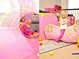 Playz 4pc Childrens Playhouse Popup Tents, Tunnels, and Basketball Hoop for Girls, Boys, Babies, Kids and Toddlers with Zipper Storage Case for Indoor & Outdoor Use (Yellow, Pink, Purple)