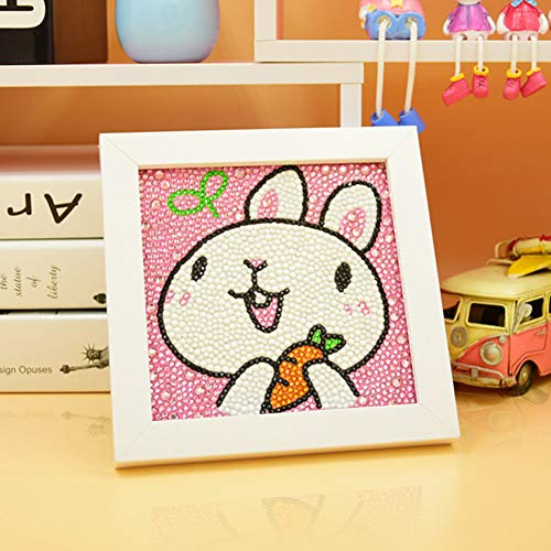 - MYSNKU Diamond Painting for Kids Full Drill Painting by Number Kits Arts Crafts Mosaics Sticker for Home Wall Decor Gifts for Christmas Birthday -Include Wooden Frame (Rabbit)