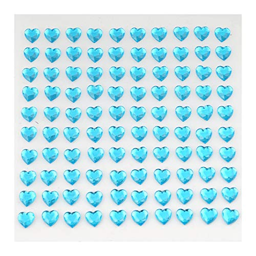 BalsaCircle 600 Turquoise Heart Shaped Self-Adhesive Gem Stickers - DIY Crafts Scrapbooking Wedding Party Favors Decorations ()