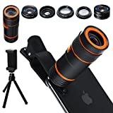 Cell Phone Camera Lens Kit,6 in 1 Universal 12x Zoom Telephoto+0.62x Wide Angle &20x Macro +235°Fisheye +Starburst Lens +CPL +Phone Holder +Tripod for iPhone X/8/7/6/6s plus Samsung Android & phone