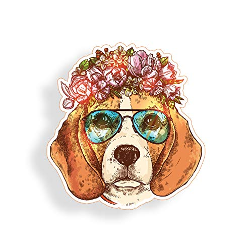 Beagle Dog Sticker - Beagle Dog Sticker Wearing Glasses Flowers for Cup Cooler Car Truck Vehicle Laptop Window Bumper Decal