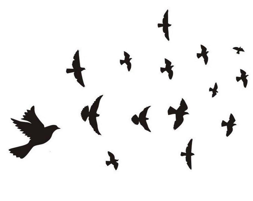 Da.Wa Black PVC Flying Birds Home Decor Wall Sticker Paper DIY Stickers for Living Room