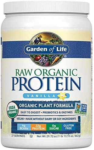Garden of Life Raw Organic Protein Vanilla Powder, 27 Servings – Certified Vegan, Gluten Free, Organic, Non-GMO, Plant Based Sugar Free Protein Shake with Probiotics Enzymes, 4g BCAAs, 22g Protein