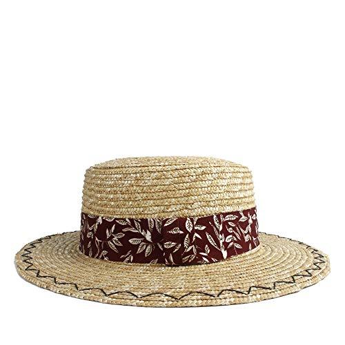 (Sun Hat Elegdy Women Wheat Hat Bowling Solar Red Leaf Print Hat Flat Freighter Adjustable Panama Beach Hat (Color : 1, Size : 56-58CM))