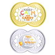 MAM Pacifiers, Baby Pacifier 6+ Months, Best Pacifier for Breastfed Babies, 'Attitude' Design Collection, Unisex, 2-Count
