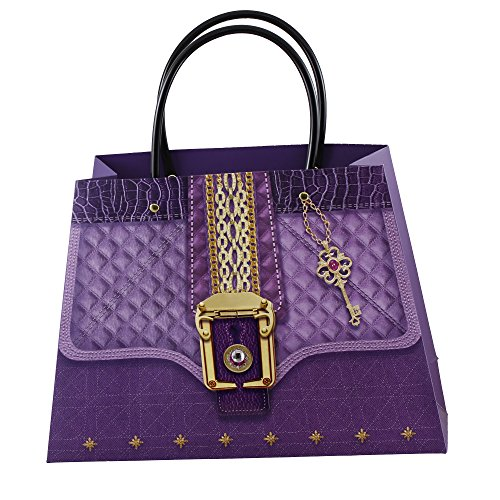 Set of 24 Womens Medium Purple 3D Purse Print Matte Paper Gift Bags With Handles