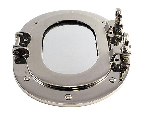 Nautical Tropical Imports Nickel Finish Over Solid Brass Oval Porthole Mirror Wall - Cabinet Mirrors Porthole Bathroom