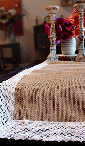 Table Runner Burlap Jute & Lace 14x108in - Excellent Home Decor - Indoor & Outdoor