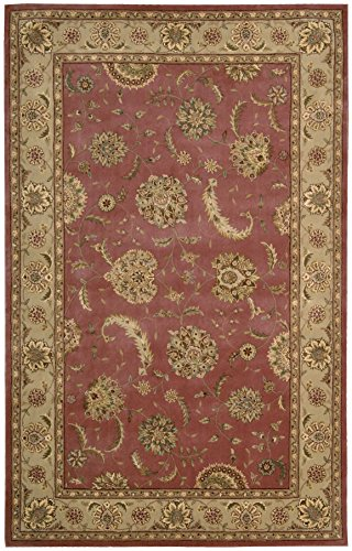 Nourison 2000 Hand-Tufted Kashan Rose Wool Rug Red 5'6