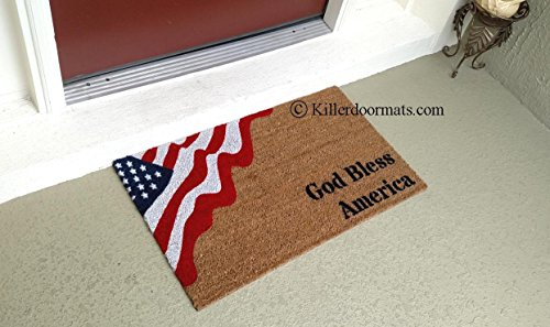 God Bless America Patriotic American Flag Custom Coir Doormat, Size Large - Welcome Mat - Doormat - Custom Hand Painted Doormat by Killer Doormats