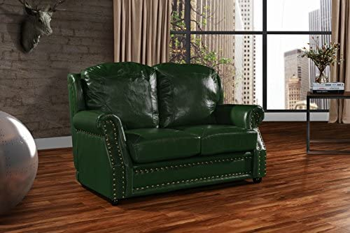 Strange Leather Match Sofa 2 Seater Living Room Couch Loveseat With Nailhead Trim Green Unemploymentrelief Wooden Chair Designs For Living Room Unemploymentrelieforg