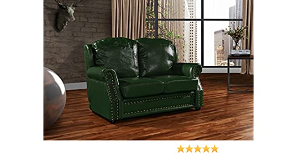 Remarkable Leather Match Sofa 2 Seater Living Room Couch Loveseat With Nailhead Trim Green Unemploymentrelief Wooden Chair Designs For Living Room Unemploymentrelieforg