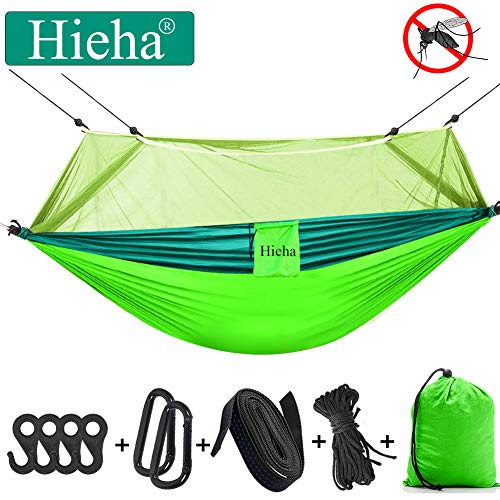 Hieha Camping Hammock with Mosquito Net, Portable Double/Single Hammocks with Bug Insect Net, Tree Straps & Carabiners for Outdoor Backpacking, Travel (Upgraded Version Easy Assemble The Net)