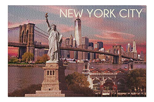 (Ellis Island National Monument - New York City - Statue of Liberty (20x30 Premium 1000 Piece Jigsaw Puzzle, Made in USA!))