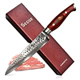 SEDGE Slicing Carving Slicer Knife - Japanese AUS-10 Damascus High Carbon Stainless Steel Kitchen Knife - Hammered Finish - Non-Slip Full-tang Ergonomic G10 Handle with Gift Box - 8''(200mm) - SD-H Series