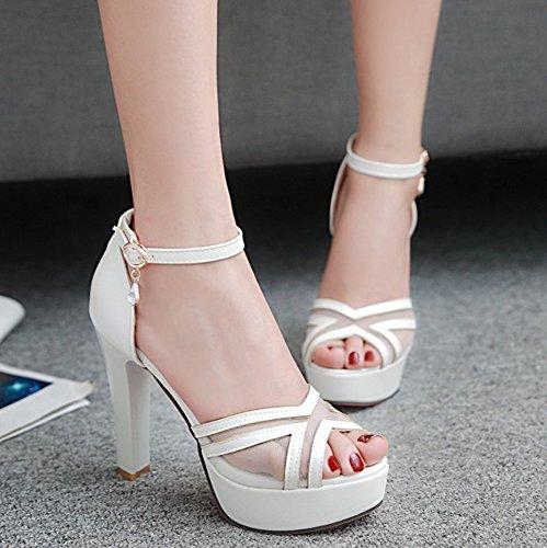 Aisun Womens Fashion Peep Toe Buckled Dress Dikke Hoge Hakken Platform Sandalen Schoenen Met Enkelbandjes Wit