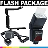 Polaroid Premium Package: Polaroid PL-144AZ Studio Series Digital Power Zoom TTL Shoe Mount AF Flash With LCD Display + Polaroid Flip Mount Flash Bracket + Polaroid 3' TTL Off-Camera Remote Flash Shoe Cord For The Sony Alpha DSLR A100, A200, A230, A290, A