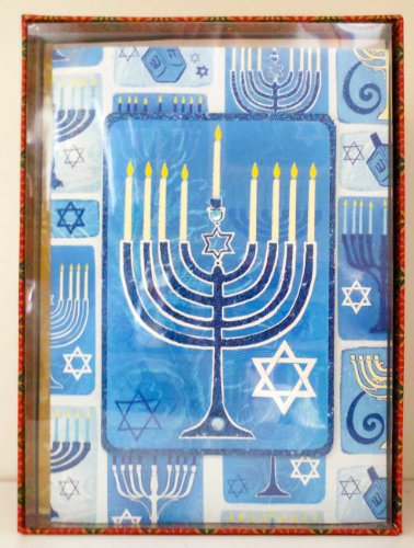 Punch Studio Decorative Hanukkah Cards - Blue Menorah - Box of 12 Cards and Lined Envelopes