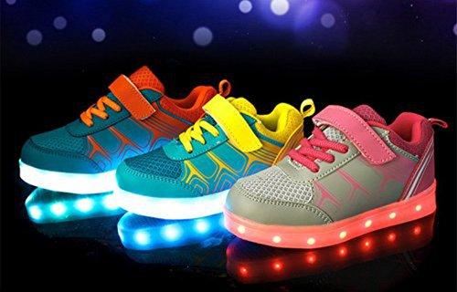 (Present:kleines Handtuch)JUNGLEST® 7 Farbe LED Leuchtend Aufladen USB Kinderschuhe Paare Schuhe Herbst und Winter Sport schuhe Freizeitschuhe Leucht lau Orange
