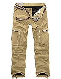 AUBIG Men's Military Relaxed Fit Belted Cargo Work Pants(No Belt)