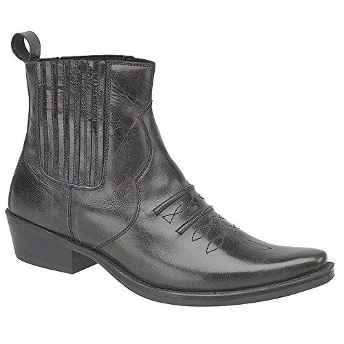 Black Cowboy Black Boots Leather Gringos JONES Distressed Ankle FTaRZq