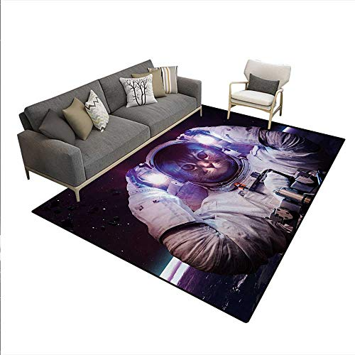 - Carpet,Kitty in Cosmonaut Suit in Galaxy Stars Supernova Design Image,Indoor Outdoor Rug,White Purple Dark Blue,5'x8'