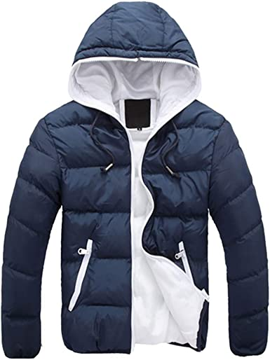 Mstyle Mens Zip Front Hooded Thermal Thicken Pure Color Down Quilted Puffer Jacket Coat Outerwear