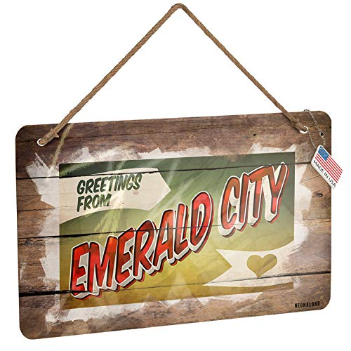 (NEONBLOND Metal Sign Greetings from Emerald City, Vintage Postcard Christmas Wood Print)