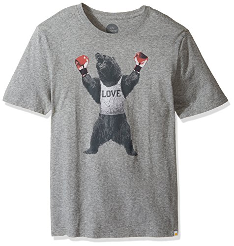 Life is good Men's Bear Boxer Smooth Tee, Heather Gray, (Life Is Good Cotton Boxers)