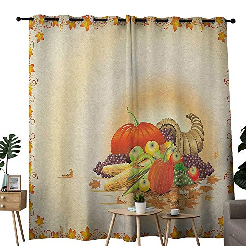 NUOMANAN Curtains 84 inch Length Harvest,Maple Tree Frame with Rustic Composition for Thanksgiving Halloween Dinner Food, Multicolor,Modern Farmhouse Country Curtains 84