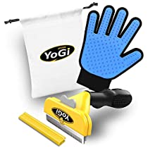 Pet Brush & Pet Grooming Glove - Pet deShedding tool brush & glove for dogs, cats & horses by YoGi Prime, Groom your cat with this fantastic grooming set and your cat will be a happy cat. Fit to all pet sizes. 4 inch brush. Dog glove Dog brush groomer pet hair remover. Grooming brush kit for long/short hair includes a carry bag. No More pet hair everywhere around the house.