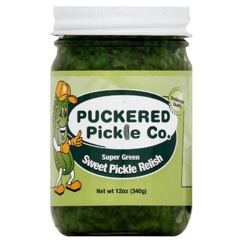 Puckered Pickle Super Green Sweet Pickle Relish, 12 Ounce (Pack of 12)