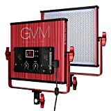 GVM LED Video Light 520 CRI97 + & TLCI 97+ 18500lux @ 20 inch Bi-color 3200-5600K for photography Video lighting Studio Interview Portrait Red