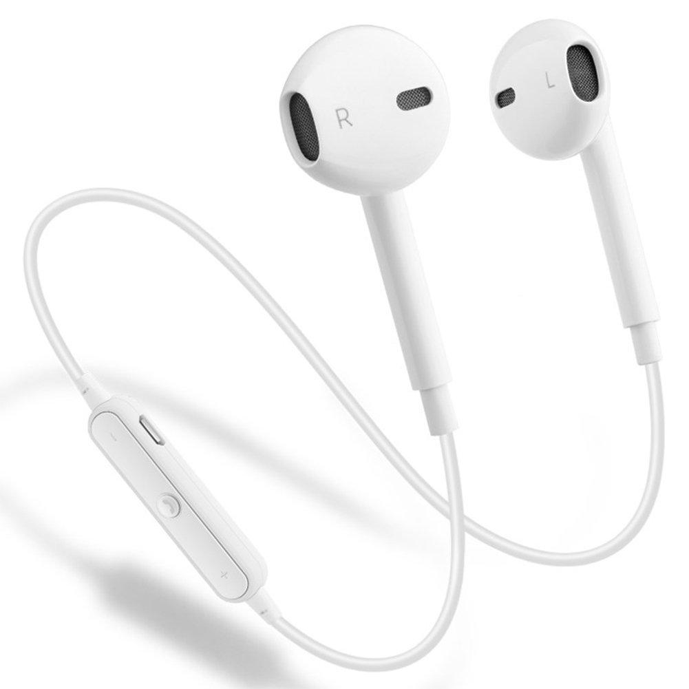 ebasy Bluetooth Headphones With Mic Earphones Sport Earbuds Car Headset compatible with iPhone X 8 7 6s 6 Plus S9 S8 S7 Running Earbuds Waterproof Earphones Noise Cancelling Headphones-White