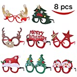 Toys : Pack of 8 Christmas Party Fancy Glasses Frames with 8 Designs Christmas Parties and Photo booth By Joyin Toy(ONE SIZE FIT ALL)