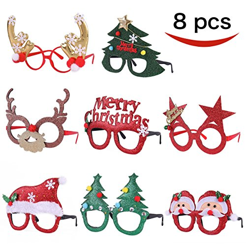 Pack of 8 Christmas Party Fancy Glasses Frames with 8 Designs Christmas Parties and Photo booth By Joyin Toy(ONE SIZE FIT ALL) (Favors Party Christmas)