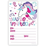 Unicorn Birthday Party Invitations (20 Count) With Envelopes