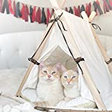 little dove Dog Teepee Pup Tent Cat Shelter Pet House Bed Cute Small Animal Pet House Cage Nest Cushion Including Beige One