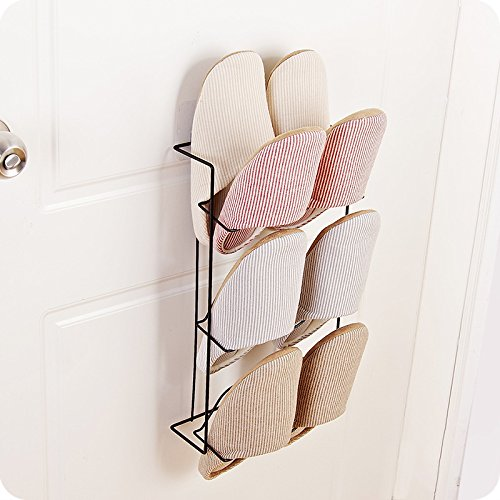 MEOLY 3-tier Shoes Shelf Metal Wall Mounted Shoes Rack for Entryway Over the Door Shoes Hangers Organizer Hanging Shoes Stand (Black)