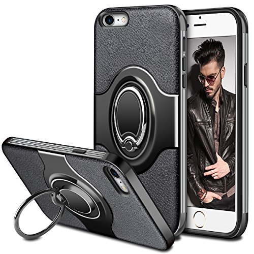 iPhone 8 Case, iPhone 7 Case, Vofolen iPhone 8 Case Ring holder Kickstand Rotational Clip Hybrid Protective Slim Shell Flexible TPU Armor Soft Rubber Cover + Hard PC Bumper for iPhone 8 7 (Black) - Kickstand Rubber