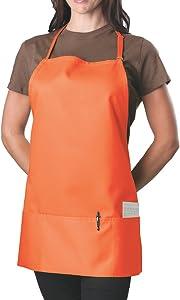 Orange Adjustable Bib Apron - 3 Pocket