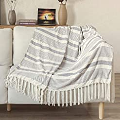 Bedroom Decorative Grey Ivory Striped Throw with Fringe, Soft Chenille Knitted Farmhouse Lightweight Blanket with Tassels for… farmhouse blankets and throws