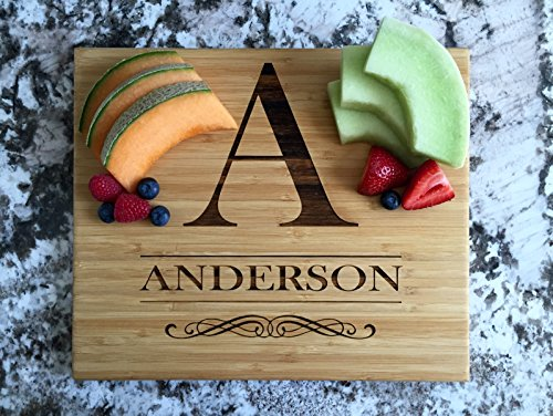 (Personalized Wedding Gifts Cutting Board - Wood Cutting Boards, Also Bridal Shower and Housewarming Gifts (11 x 13 Single Tone Bamboo Rectangular, Anderson Design))