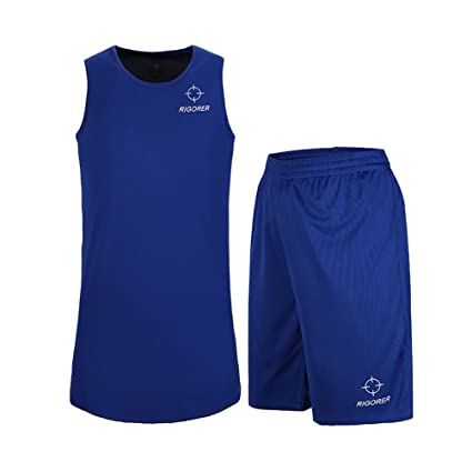 5fbe36c726fc RIGORER Men s Reversible Basketball Uniforms 2 Sides Wear Sports Jersey and  Mesh Shorts Training Tank Top Set