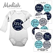 12 Monthly Baby Stickers, Baby Boy, Baby Belly Stickers, Baby Month Stickers, First Year Stickers Months 1-12, Arrows, Tribal, Navy, Blue, Teal, Aqua, Gray, Grey, Boy